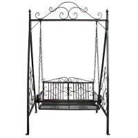 Charles Bentley Wrought Iron Swing Seat Outdoor Patio ...