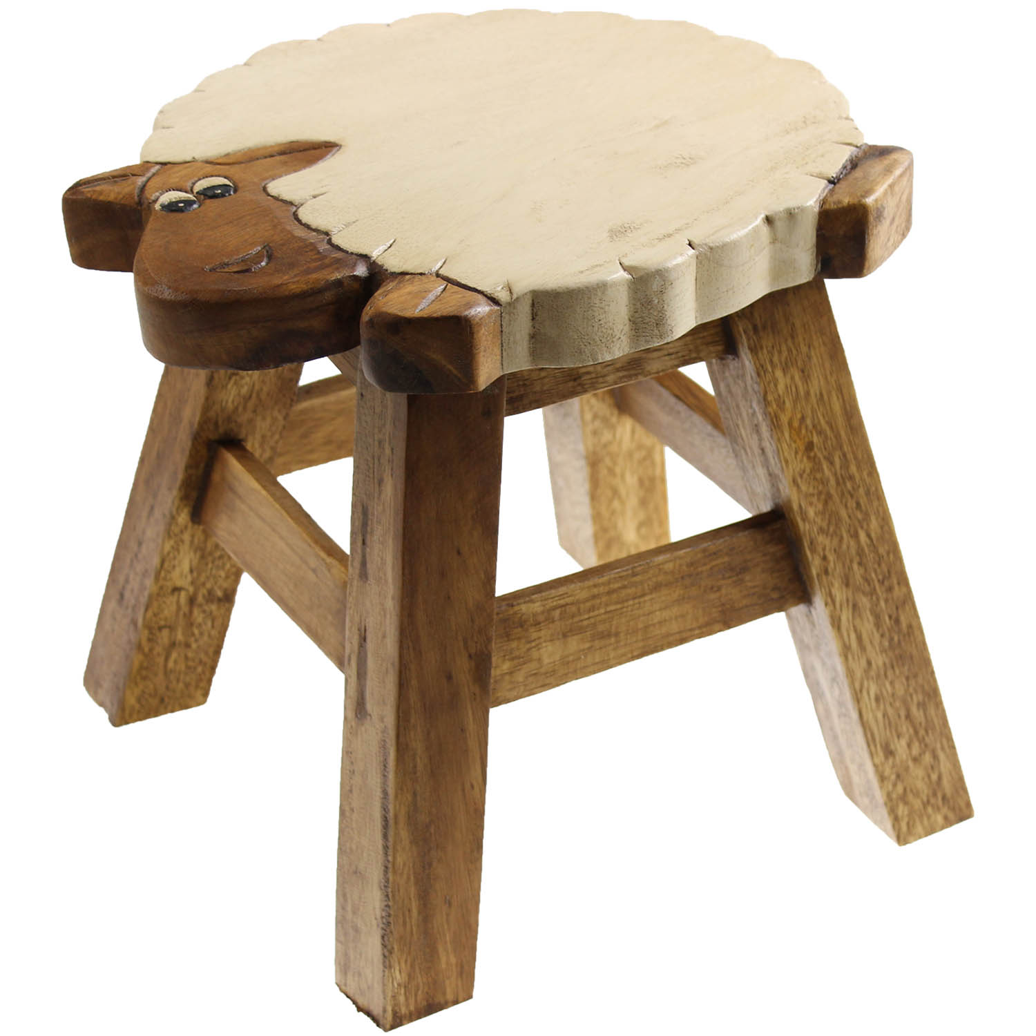 Kids Wooden Stool Solid Wood Wooden Round Sheep Design Kids Foot Stool