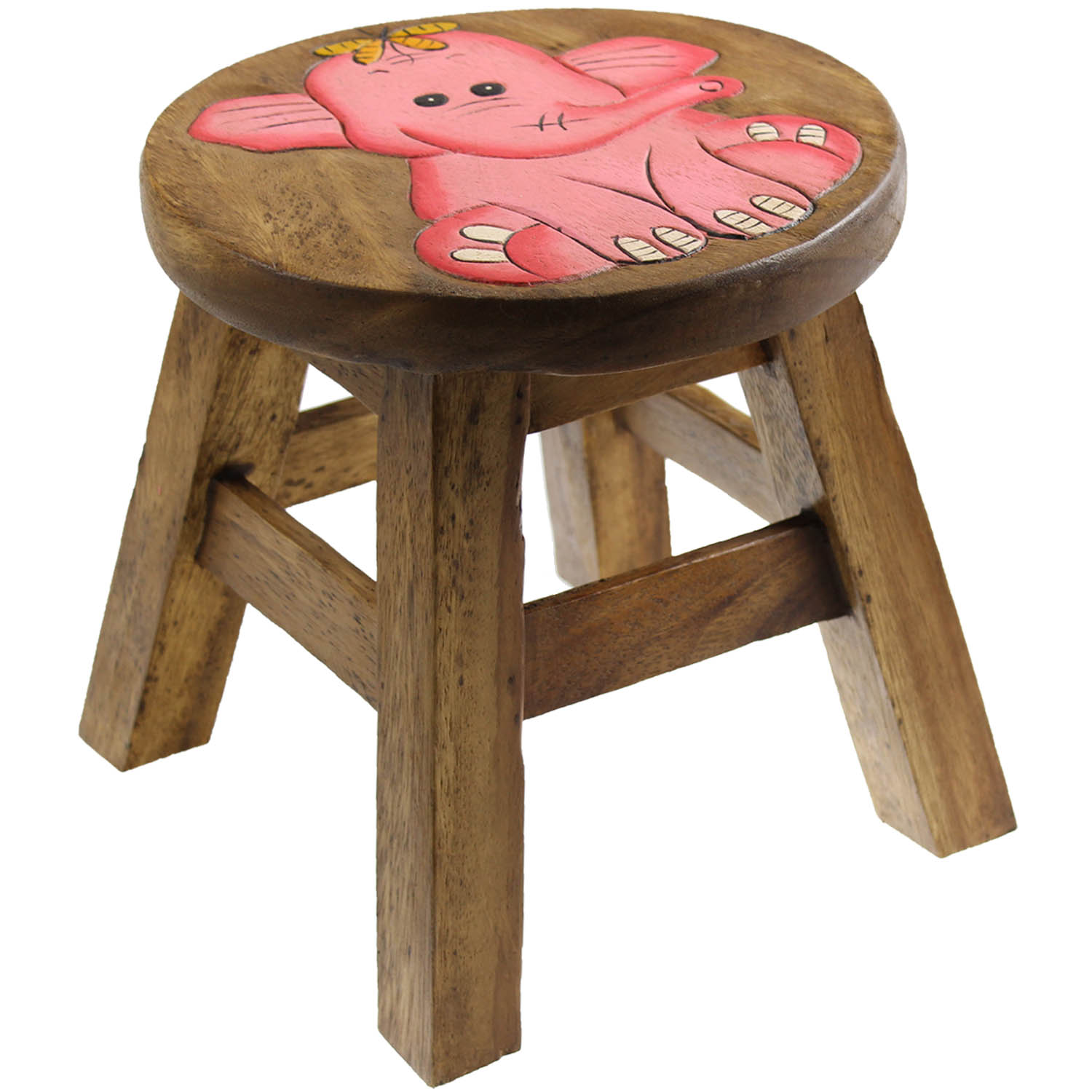 Kids Wooden Stool Solid Wood Wooden Round Elephant Design Kids Foot Stool