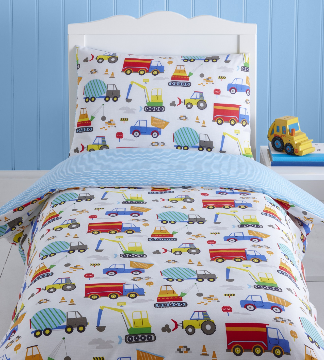 2 Persoons Dekbedovertrek Bright Trucks Baby Boy Kids Toddler Junior Cot Bed Duvet