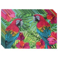 Set of 4 30x45cm Parrot Tropical Design Rectangle ...