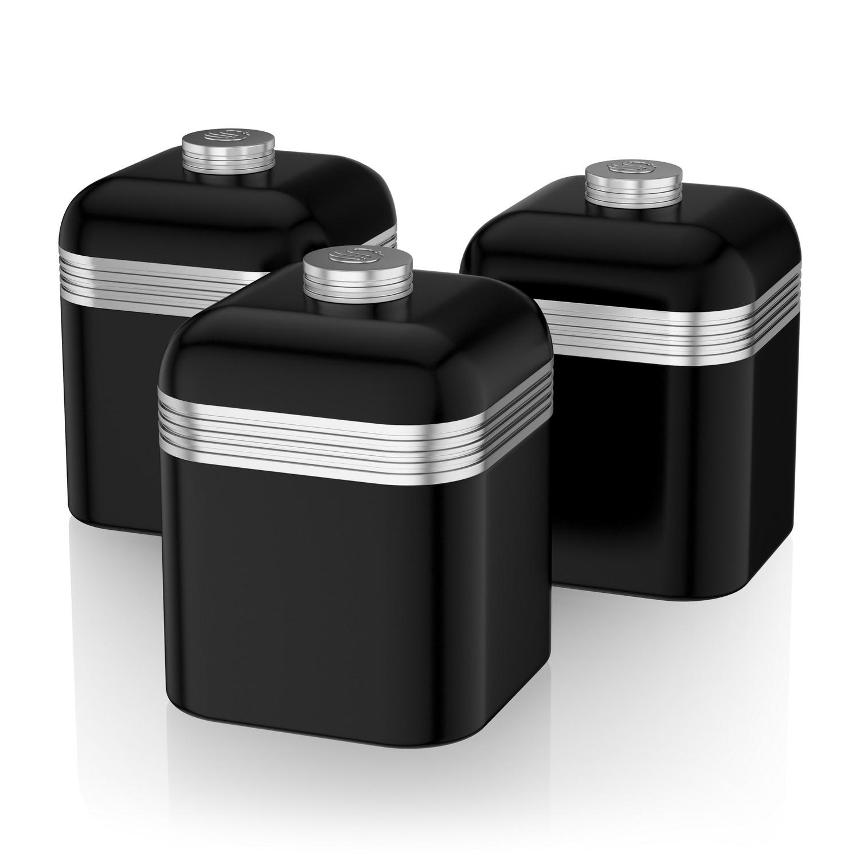 Swan Set Of 3 Tea Coffee Sugar Black Canisters Jar Kitchen