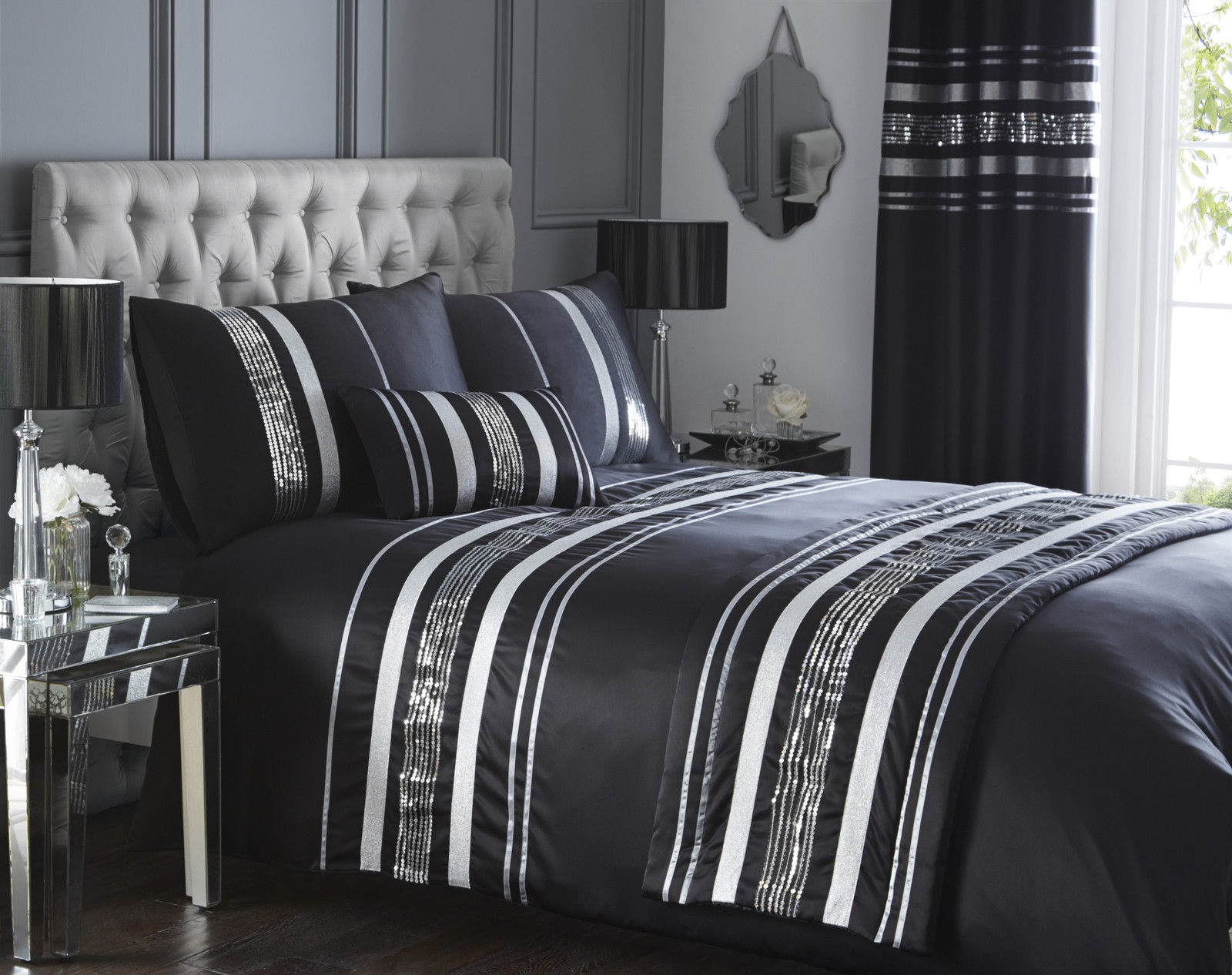 Black And Silver Bed Luxury Sequin Glitter Stripe Duvet Quilt Cover Bedding Set