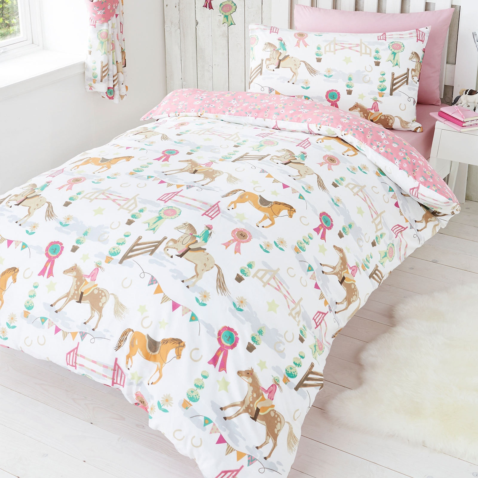 Girls Bedding Horse Pony Jumping Show Time Duvet Quilt Cover Daisy Prize