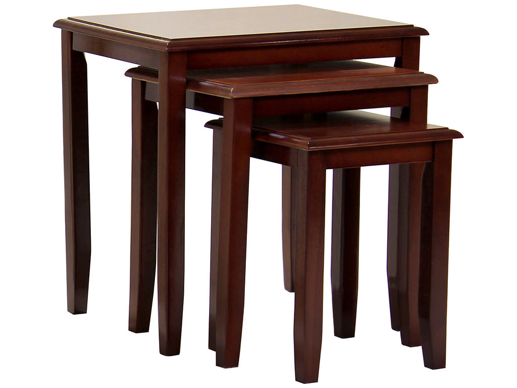 Coffee Table And Lamp Table Set Red Mahogany Finish Solid Wood Nest Of 3 Piece Coffee End