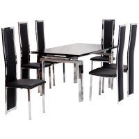Chrome & Glass Extending Dining Table and Chair Set with 6 ...