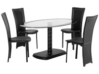 Black & Clear Glass Oval Dining Table and Chair Set with 4