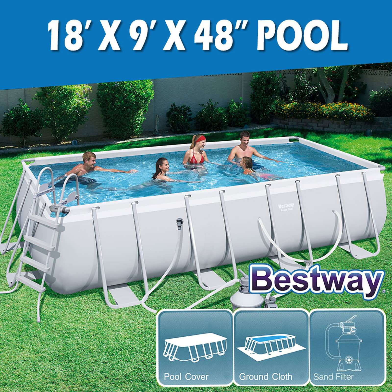 Frame Pool Bestway Details About Bestway Above Ground Swimming Pool Steel Frame Sand Filter Pump 18ft 5 49x2 74m