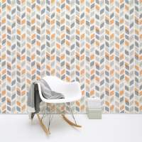 Retro 60s/70s Wallpaper Vintage Geometric Abstract Leaf ...