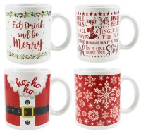 Christmas Mugs Set of 4 Santa Design Xmas Mugs Home ...