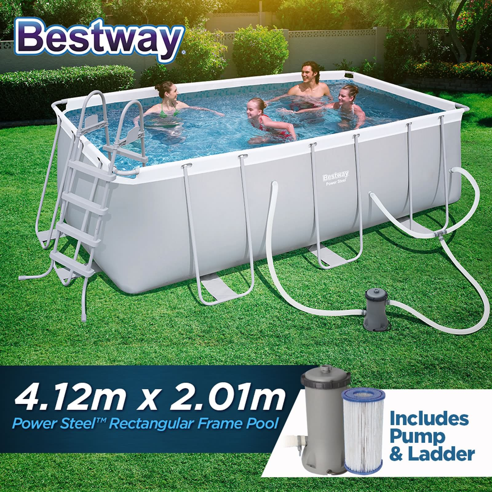 Frame Pool Bestway Details About Bestway Above Ground Swimming Pool Power Steel Rectangular Frame 4 12m X 2 01m