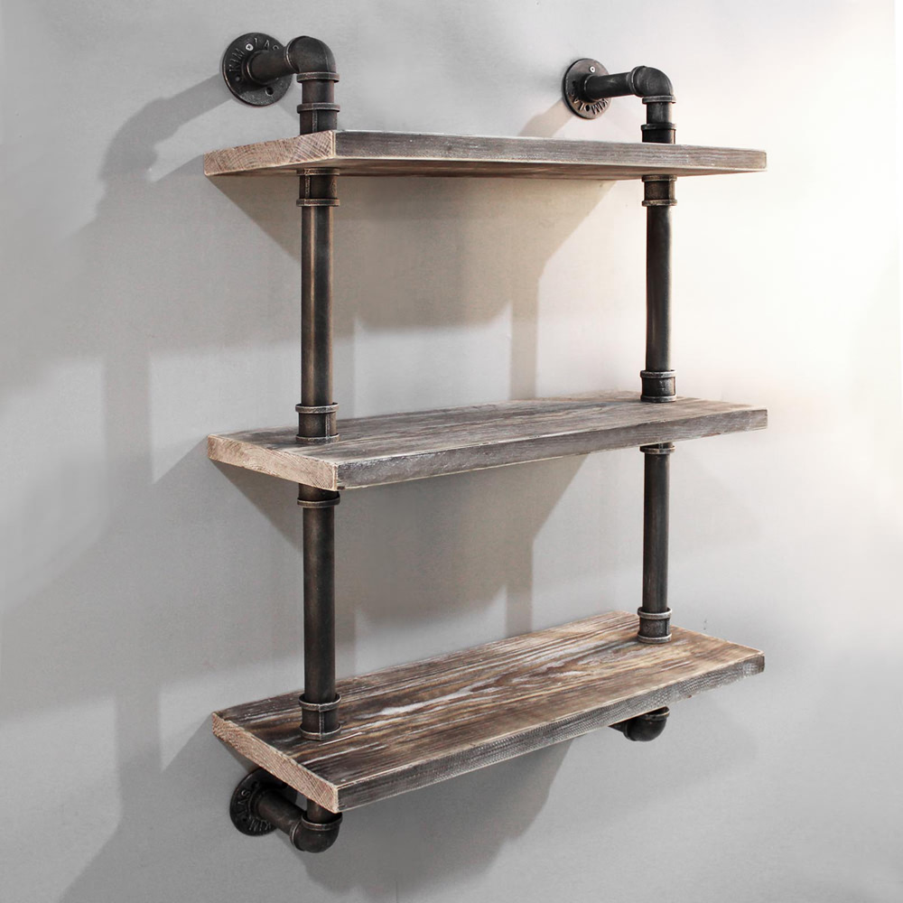 Rustic Industrial Diy Floating Pipe Shelf Ebay