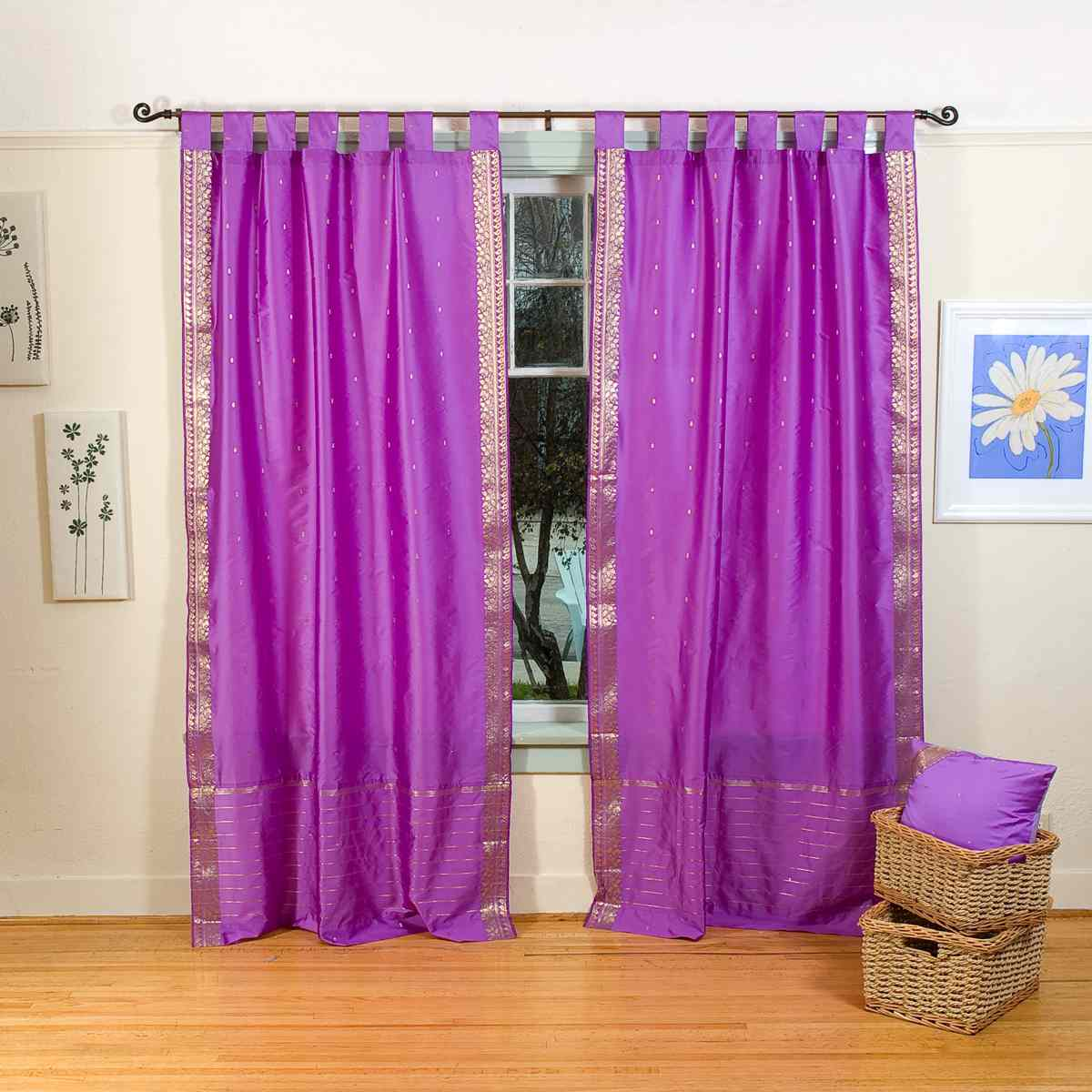 Tab Top Curtains Australia Indo Lavender Tab Top Sari Sheer Curtain 43 In X 84 In