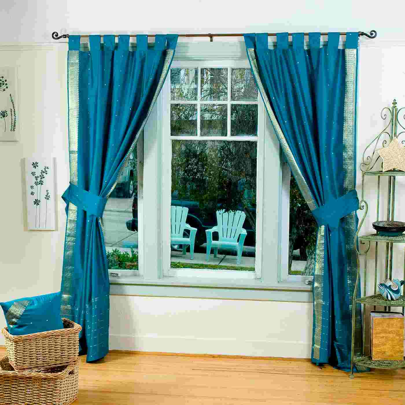 Tab Top Curtains Australia Indo Turquoise Tab Top Sari Sheer Curtain 43 In X 84 In
