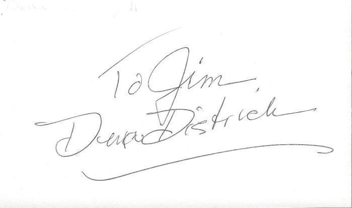 Dena Dietrich Signed 3x5 Index Card Mother Nature Murphy Brown