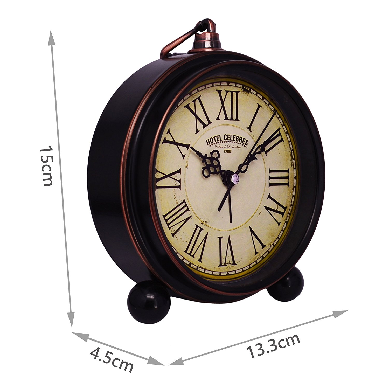 High End Alarm Clocks Vintage Quiet Non Ticking Sweep Second Hand Desk Clock