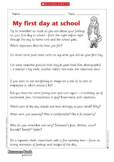 essay on my first day at school - Canasbergdorfbib