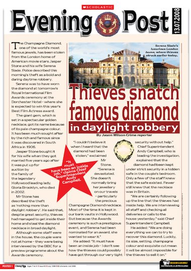 Kelly Brook Official 2018 Calendar A3 Poster Format The Diamond Theft – Newspaper Report – Primary Ks2
