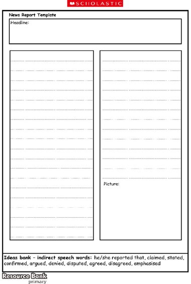 Newspaper report template \u2013 Primary KS1  KS2 teaching resource