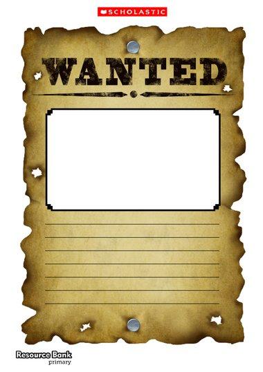 Wanted poster template \u2013 Primary KS1  KS2 teaching resource