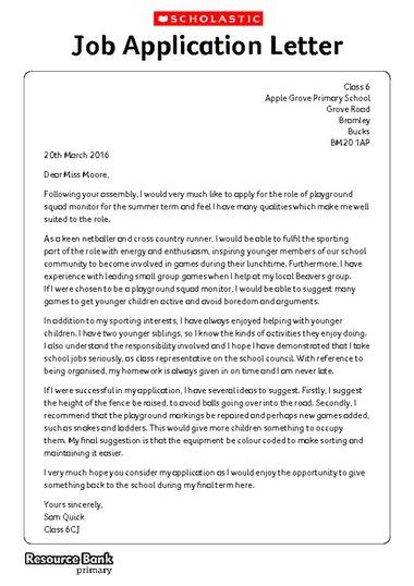 Job Application Letter Example Ks2 - Writing Formally \u2013 Example