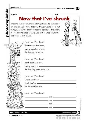 Now that I\u0027ve shrunk \u2013 poetry writing frame \u2013 Primary KS2 teaching