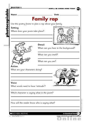 Family rap \u2013 poetry writing frame \u2013 Primary KS2 teaching resource