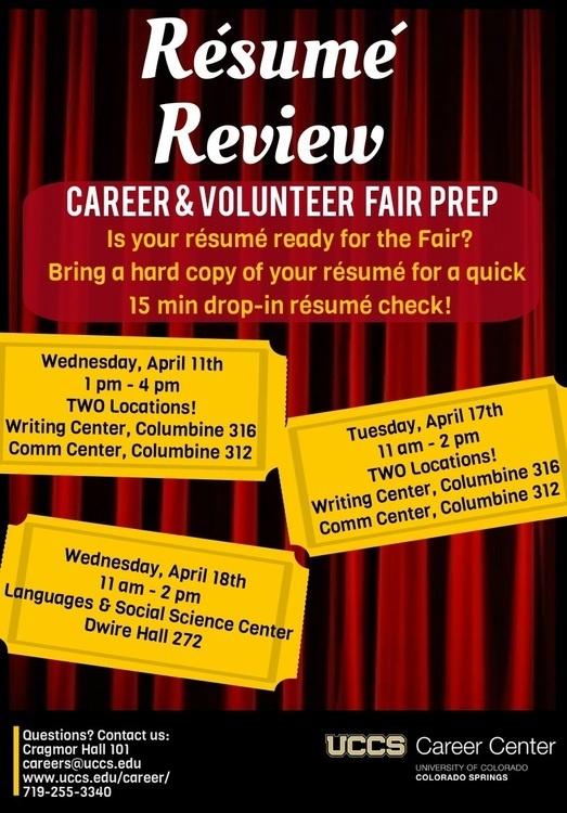 Resume Review - UCCS Events Calendar - resume check