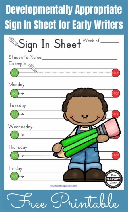 Weekly and Daily Sign In Sheets for Early Writers - Your Therapy Source