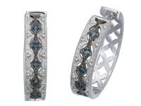 1/4 CT Blue Diamond Hoop Earrings
