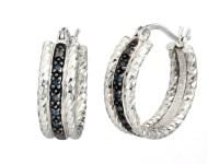 Sterling Silver 0.10 CT Blue Diamond Hoop Earrings - Fashion
