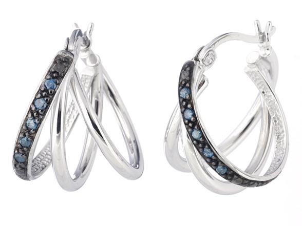 Silver Blue Diamond Hoop Earrings