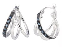 Silver Blue Diamond Hoop Earrings - Fashion