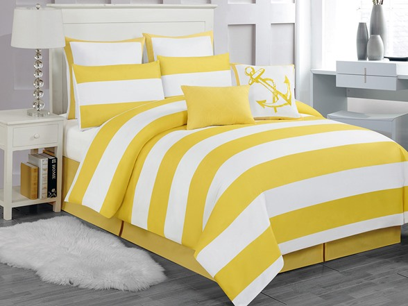 Delia Stripe 8pc Comforter Set Yellow Queen