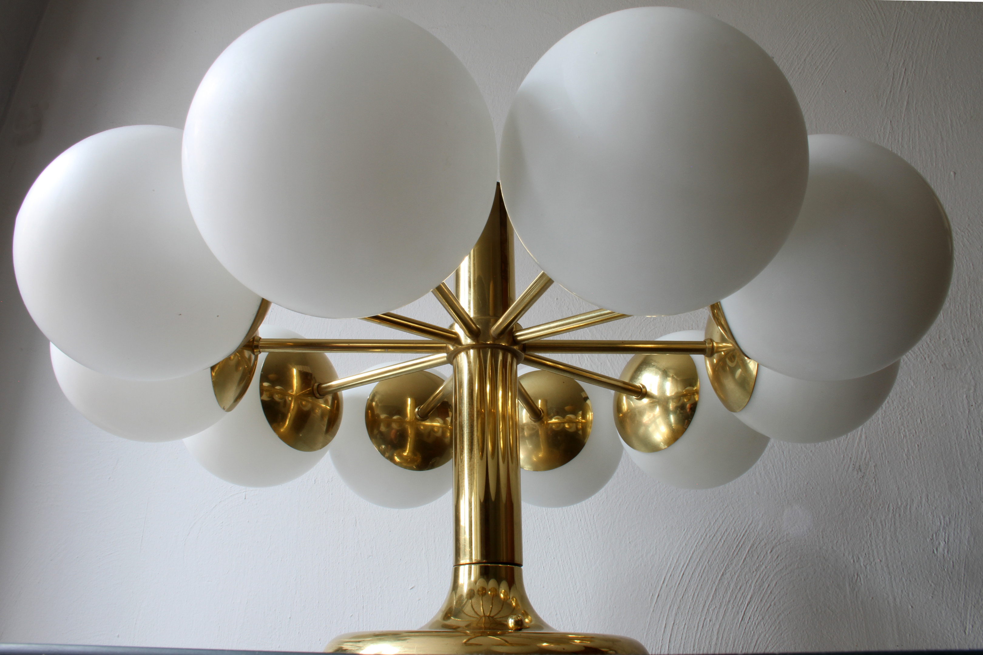 Leuchten Kaiser Kaiser Leuchten Radial Sputnik Opal Glass Globes Chandelier, Germany, 1960s | Collectors Weekly
