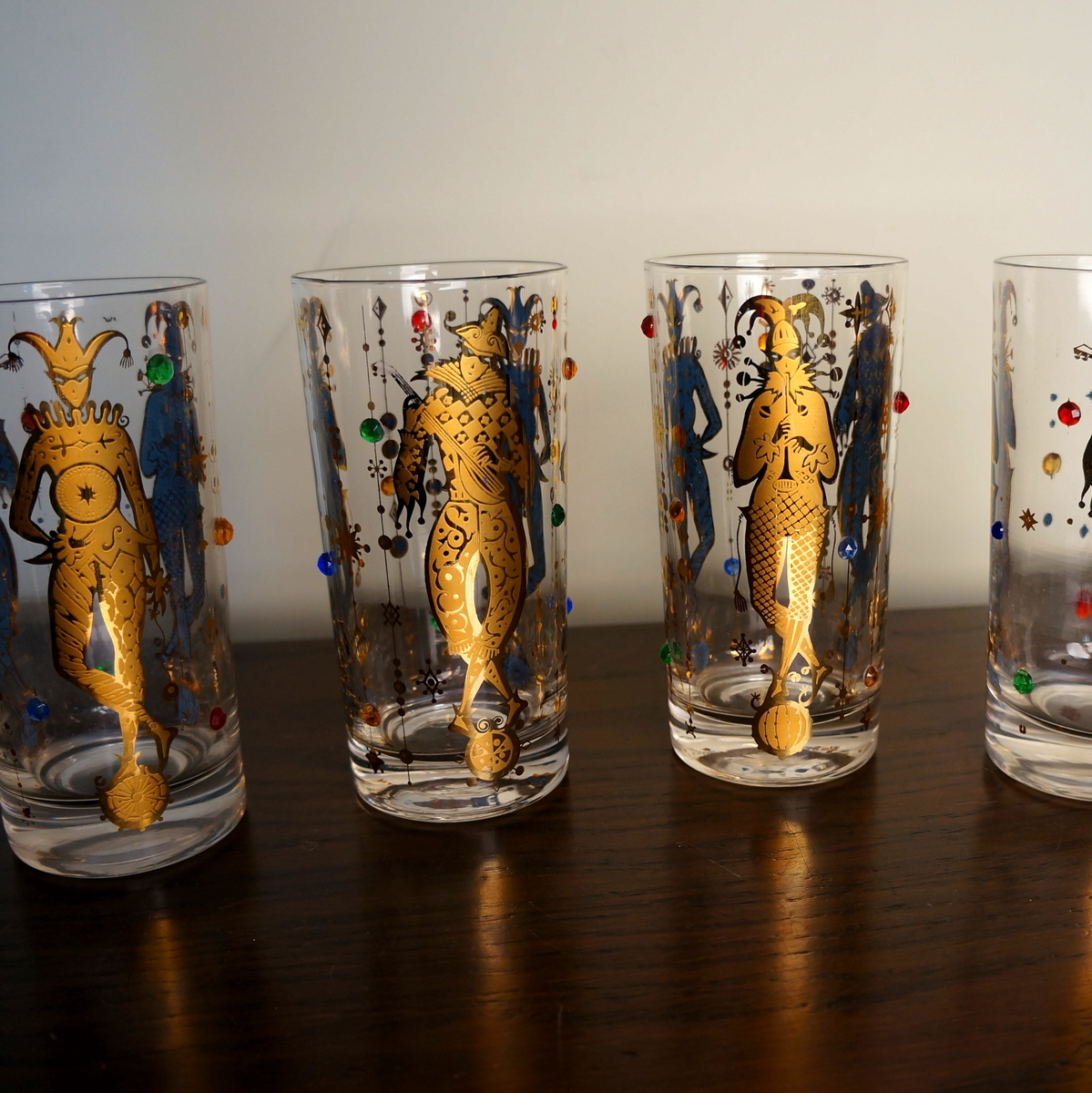 Drinking Glasses Designs Vintage Culver Glassware Mardi Gras Pattern 22k Gold