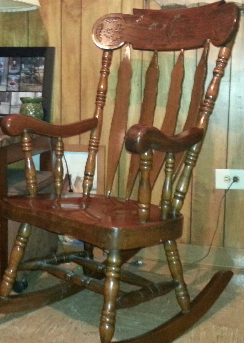 Wood Rocking Chair Large Solid Wood Carved Rocking Chair Collectors Weekly