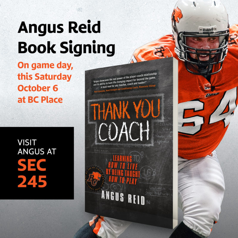 Reid Puts On Author\u0027s Hat With \u0027Thank You Coach\u0027 - BC Lions