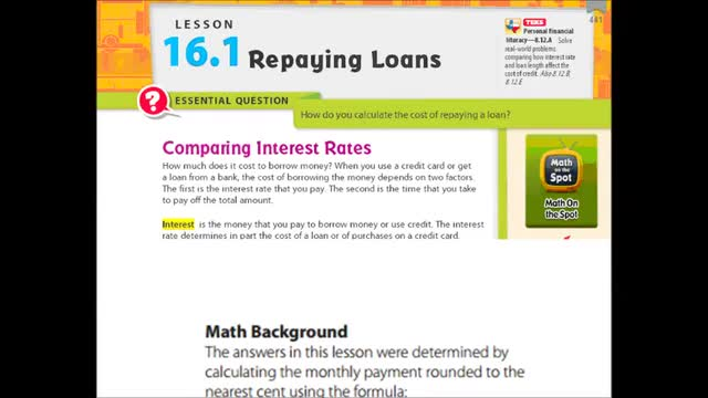 Adv Lesson 16-1 Repaying loans Whitehouse Independent School District