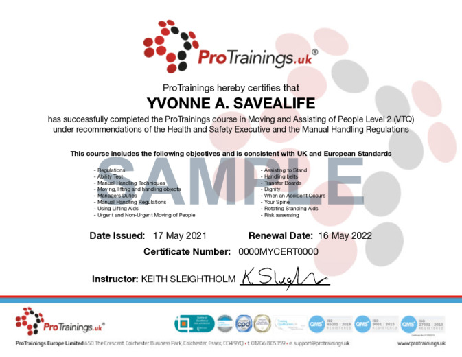 Moving and Assisting of People Level 2 Course Details ProTrainingseu