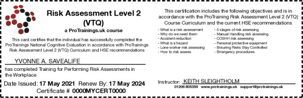 Risk Assessment Level 2 Hard Copy Card - ProTrainings Health and