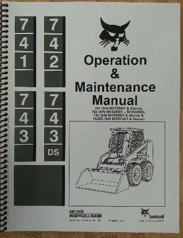 Bobcat 743 Operation Operator Maintenance Manual hi s/n Finney