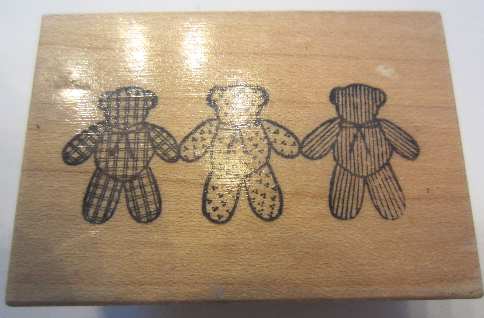 Teddy Plaid Psx Patterned Stuffed Teddy Bear Trio Stripes Plaid Dots 1988 D 893 Rubber Stamp