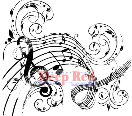 Deep Red Rubber Stamp Music Swirl Notes G Clef Musical Theme - clef music