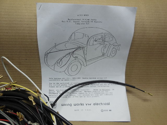 1956-1957 VW ALL Convertible Beetle COMPLTE Wiring Works Harness Kit