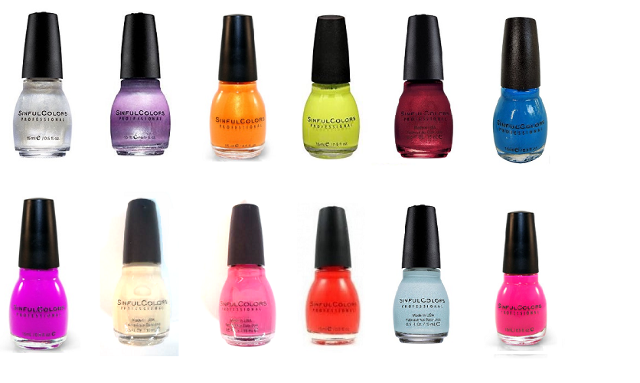 12 Sinful Colors Professional Nail Polish Purple Pink Blue