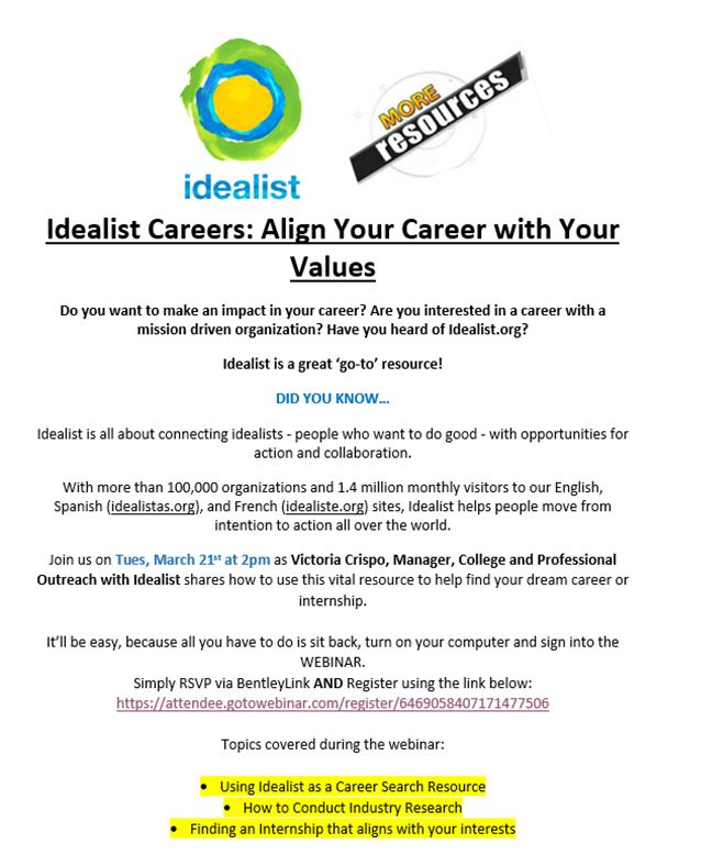 Idealist Careers NEW JOB/INTERNSHIP RESOURCE \u2013 Bentley CareerEdge