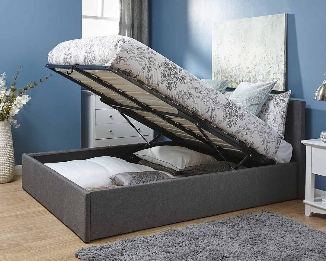 End Of Bed Storage End Lift Ottoman Storage Silver Grey Double Bed Frame