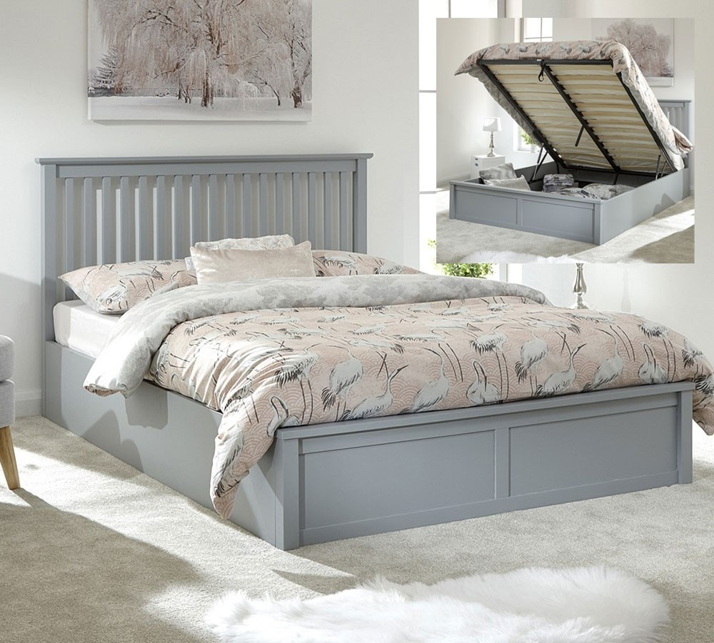 Connect Dove Grey Wooden Double Ottoman Bed Frame