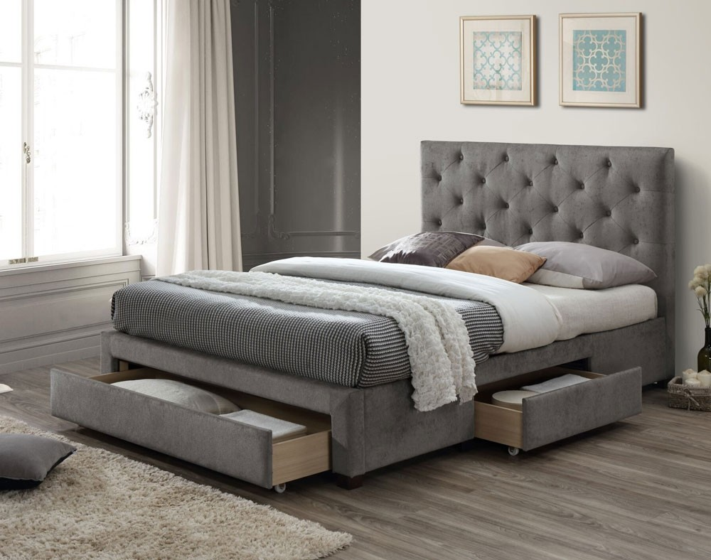 Moonset Grey Marl Double Bed Frame With 3 Drawers